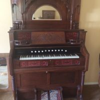 Estey Pump Organ with mirrored hutch